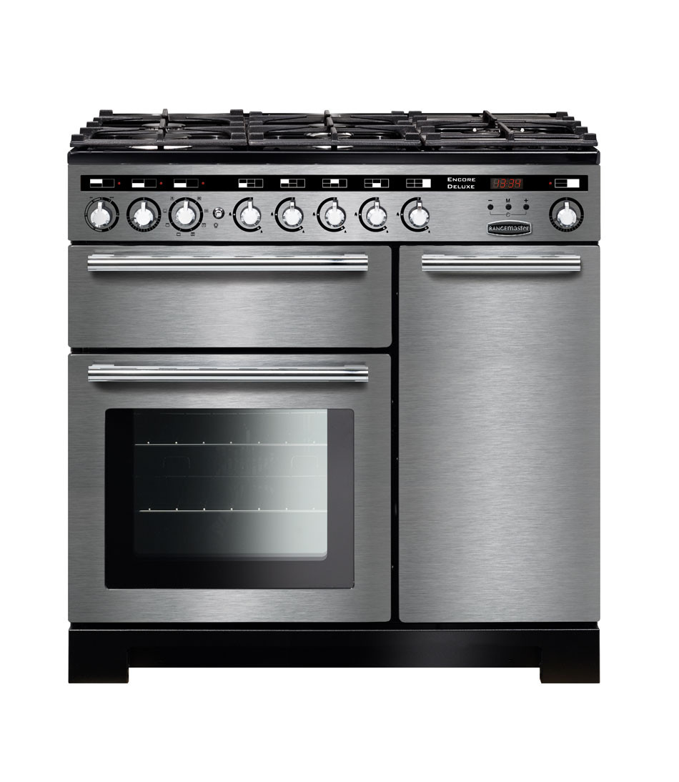 Rangemaster Encore Deluxe 90 Dual Fuel Stainless Steel Range Cooker EDL90DFFSS/C 117210