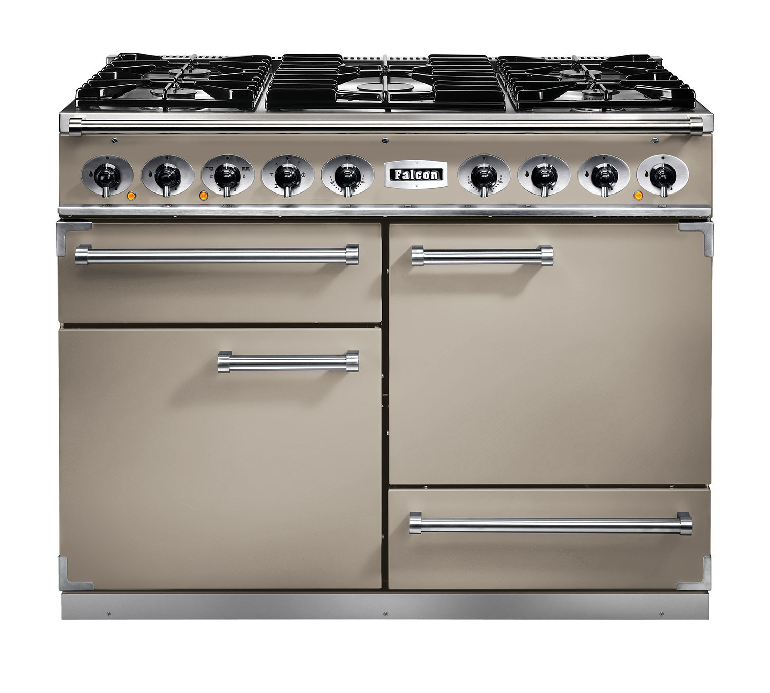 buy falcon 1092 deluxe dual fuel fawn nickel range cooker with matt pan supports. Black Bedroom Furniture Sets. Home Design Ideas
