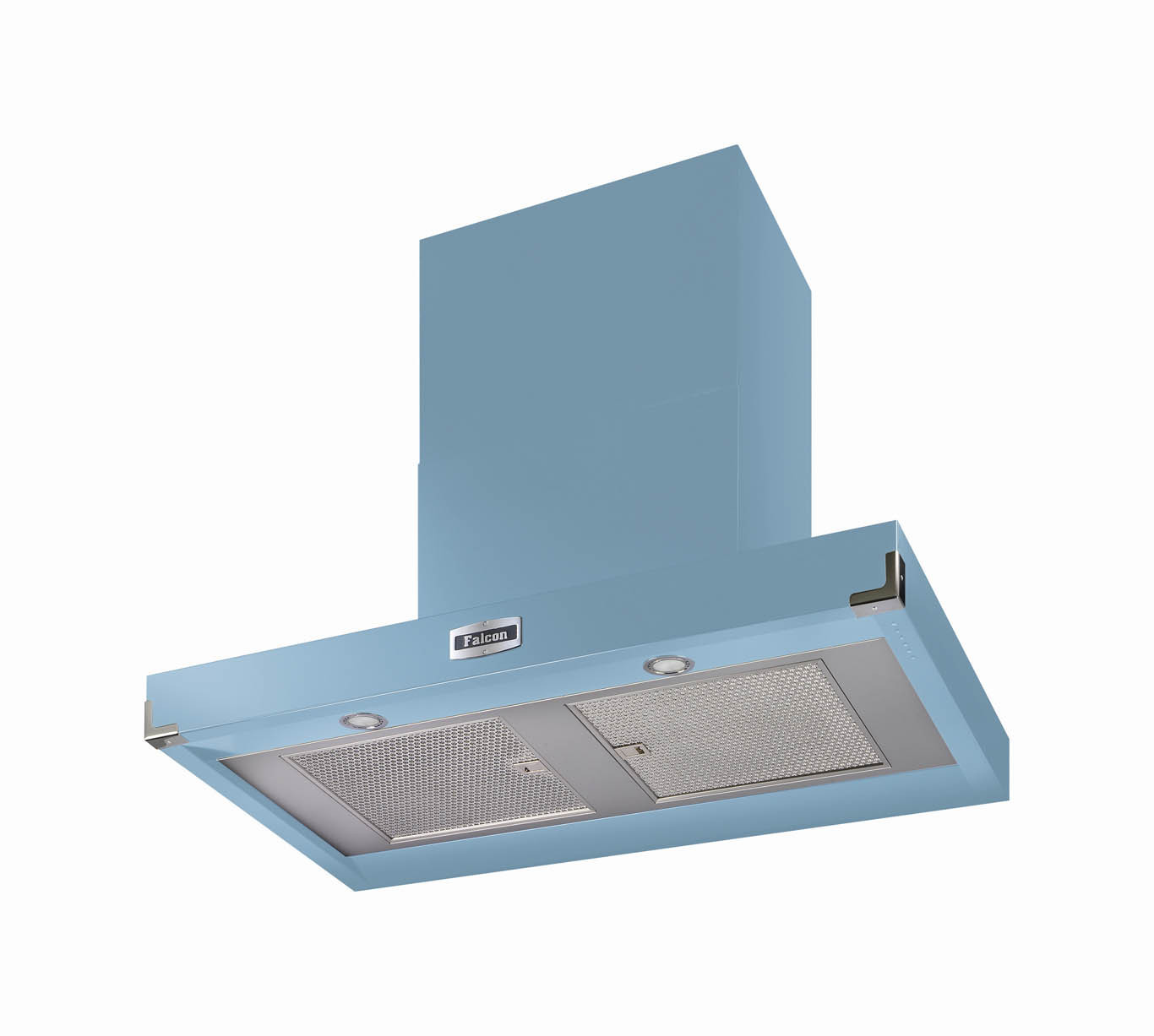 Falcon 900 Contemporary China Blue Cooker Hood Nickel