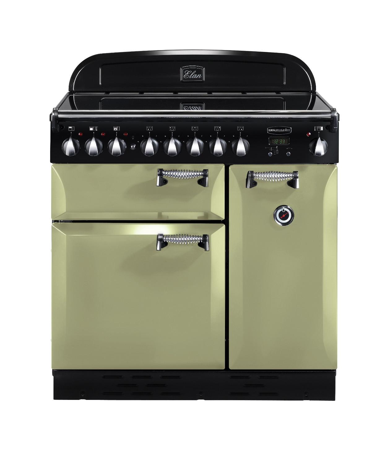 Rangemaster Elan 90 Ceramic Olive Green Range Cooker 100970
