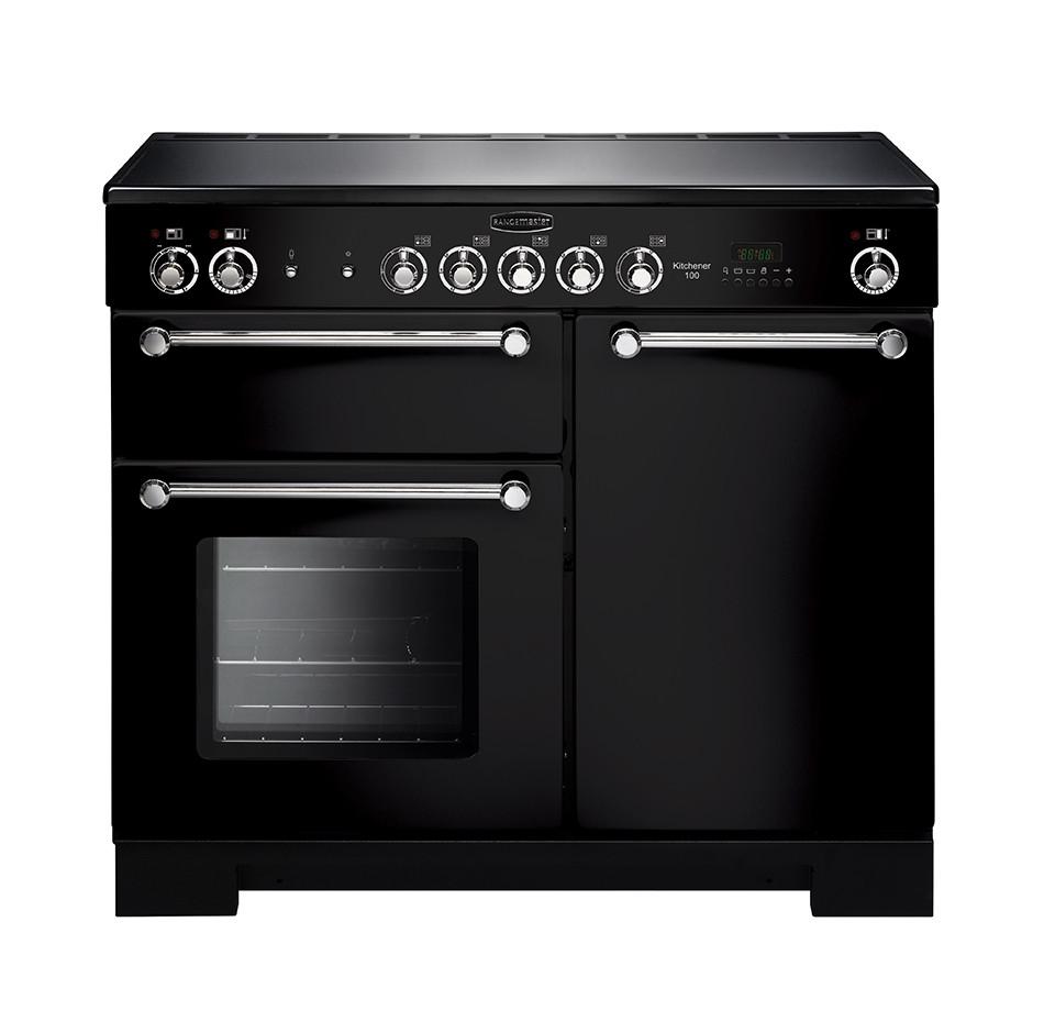 Rangemaster Kitchener 100 Ceramic Black Range Cooker KCH100ECBL/C 112820
