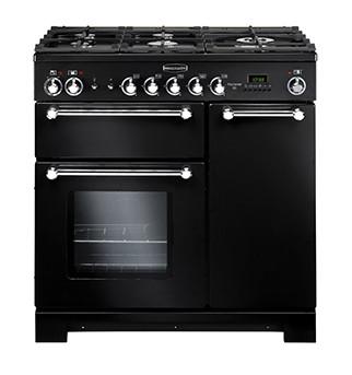 Rangemaster Kitchener 90 Natural Gas Black Range Cooker KCH90NGFBL/C 116750