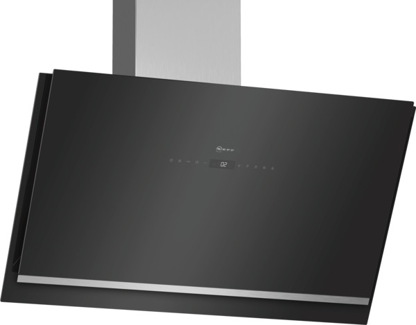 Neff N90 90cm Angled Black Glass Chimney Hood D96IKW1S0B
