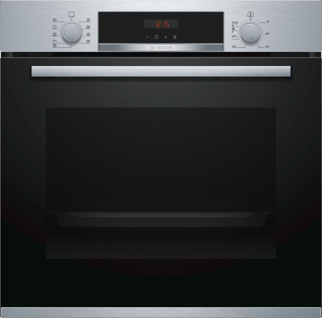 Bosch Serie 4 Brushed Steel Pyrolytic Single Oven HBS573BS0B