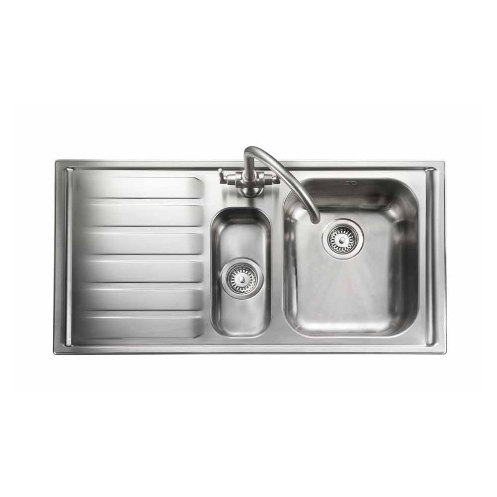 Rangemaster Manhattan MN10102L/ 1.5 Bowl Stainless Steel Sink Left