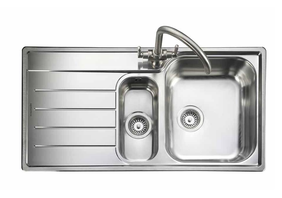 Rangemaster Oakland OL9852L/ 1.5 Bowl Stainless Steel Sink Left