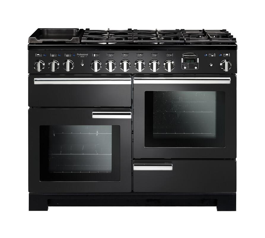 Rangemaster Professional Deluxe 110 Dual Fuel Charcoal Black Range Cooker PDL110DFFCB/C 126110