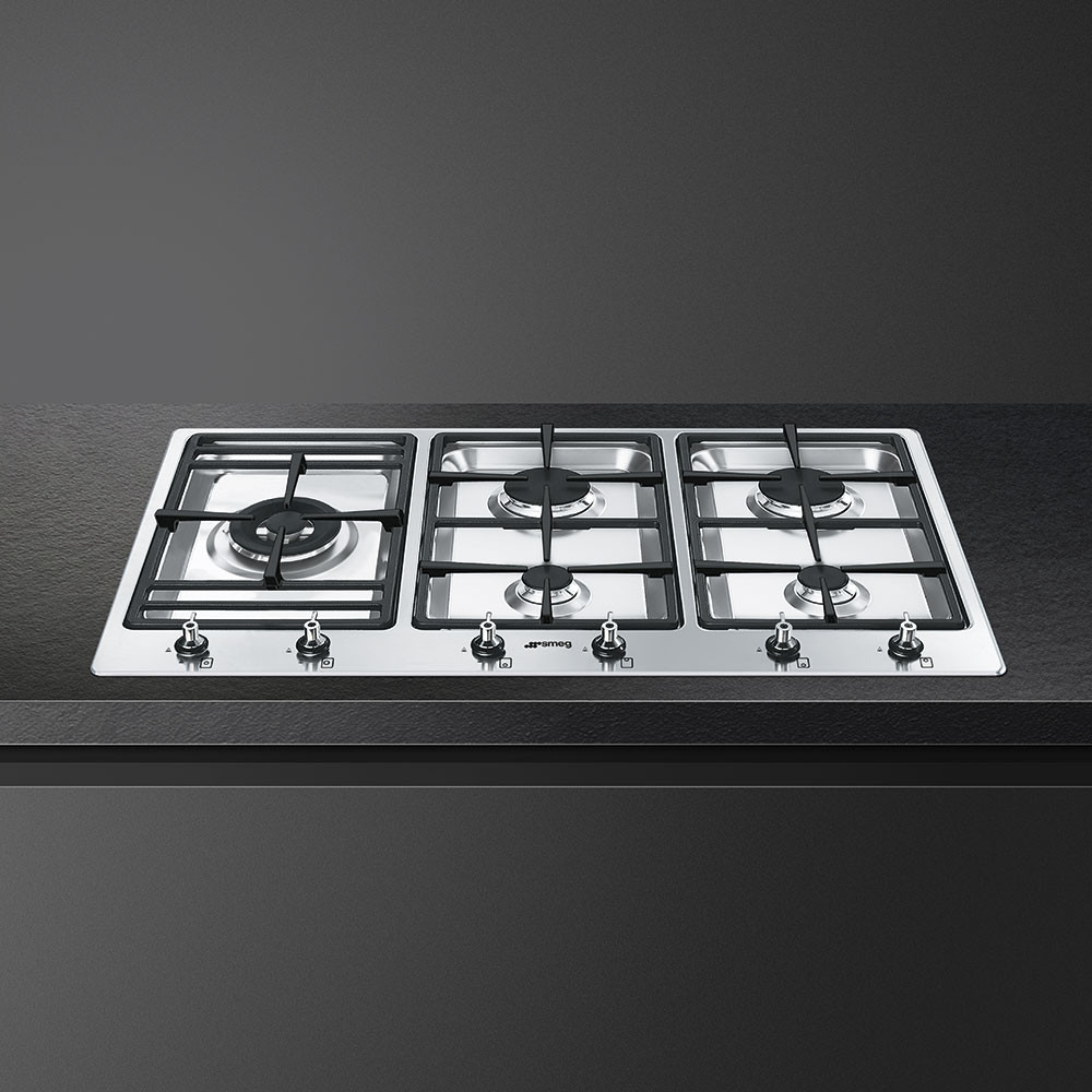 Smeg PS906-5 Classic 90 Stainless Steel Gas Hob