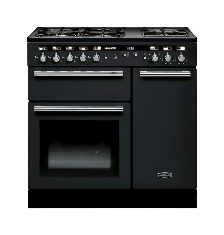 Rangemaster Hi-Lite Dual Fuel 90 Black Range Cooker 102110