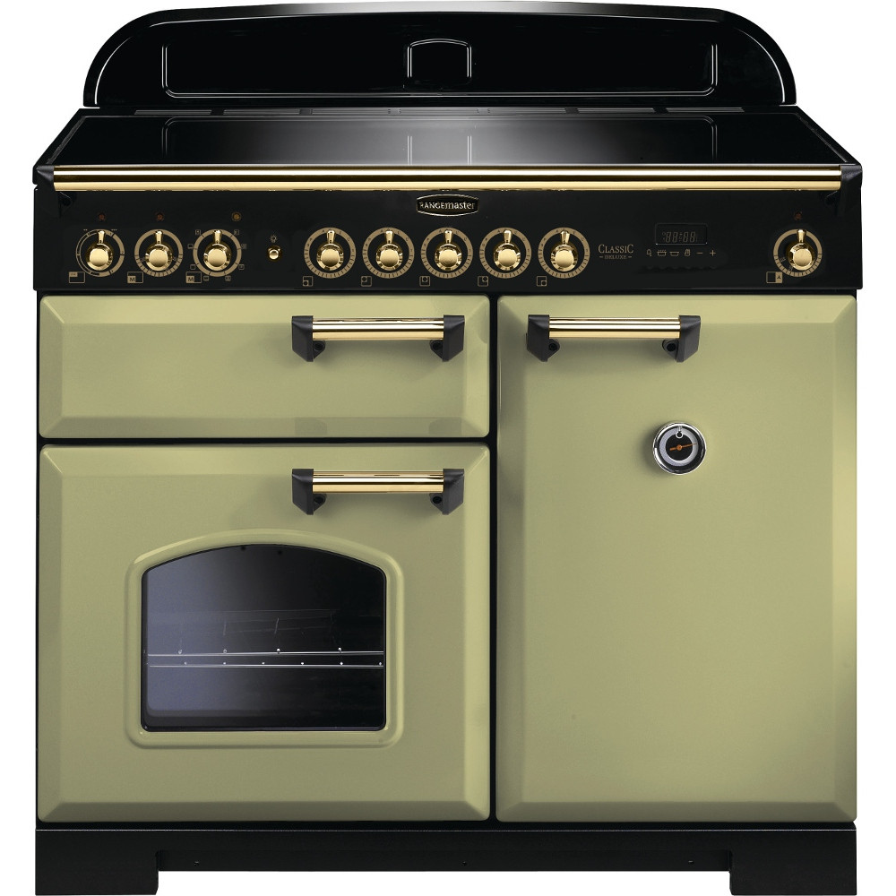 Rangemaster Classic Deluxe 100 Induction Olive Green/Brass Trim Range Cooker CDL100EIOG/B 114830