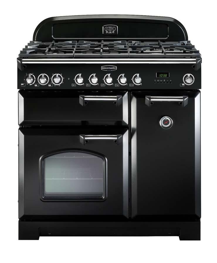 Rangemaster Classic Deluxe 90 Dual Fuel Black/Chrome Range Cooker 80930