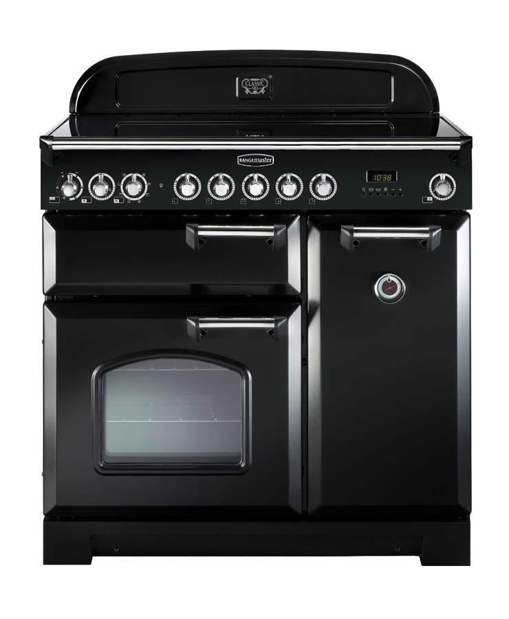 Rangemaster Classic Deluxe 90 Ceramic Black/Chrome Range Cooker 81630