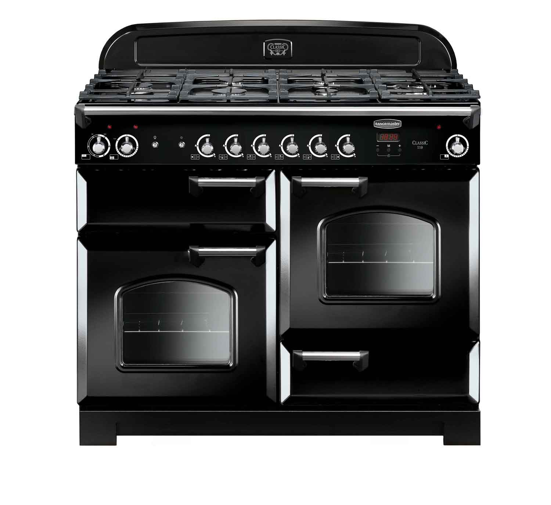 Rangemaster Classic 110 Dual Fuel Black Range Cooker CLA110DFFBL/C 116780
