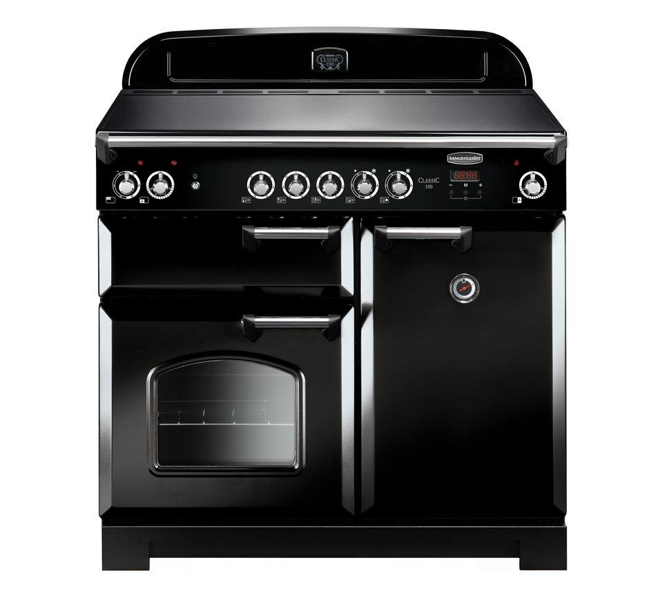 Rangemaster Classic 100 Ceramic Black/Chrome Trim Range Cooker CLA100ECBL/C 117600