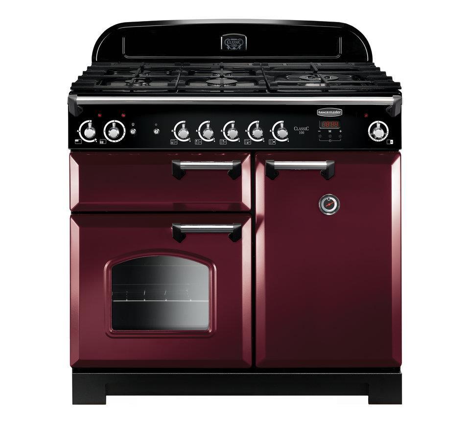 Rangemaster Classic 100 Natural Gas Cranberry/Chrome Trim Range Cooker CLA100NGFCY/C 117650