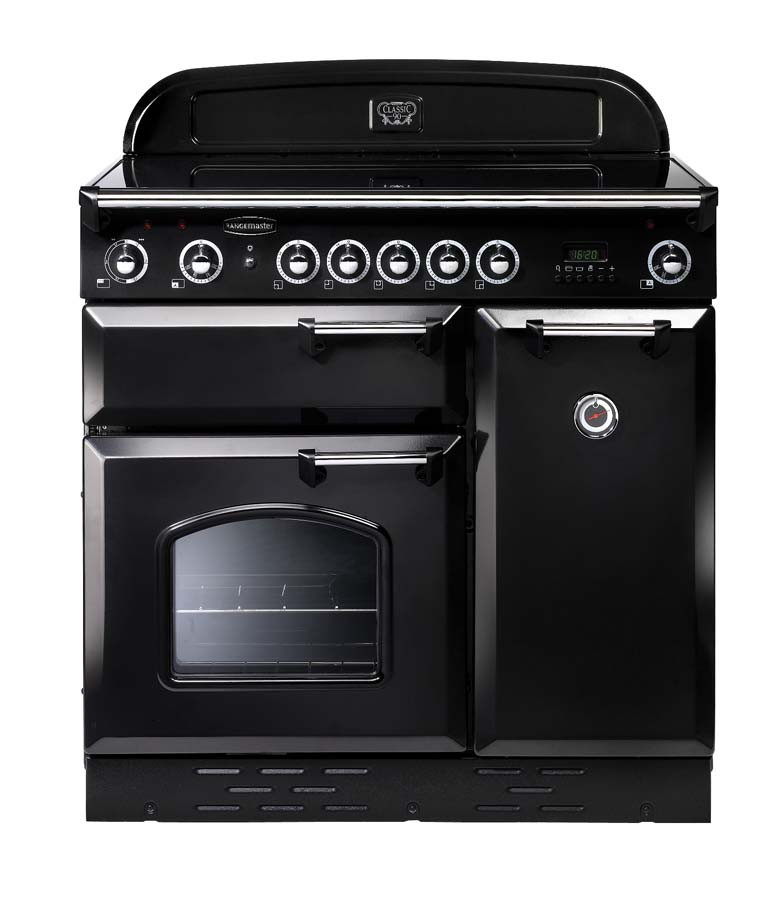Rangemaster Classic 90 Ceramic Black/Chrome Range Cooker 68350