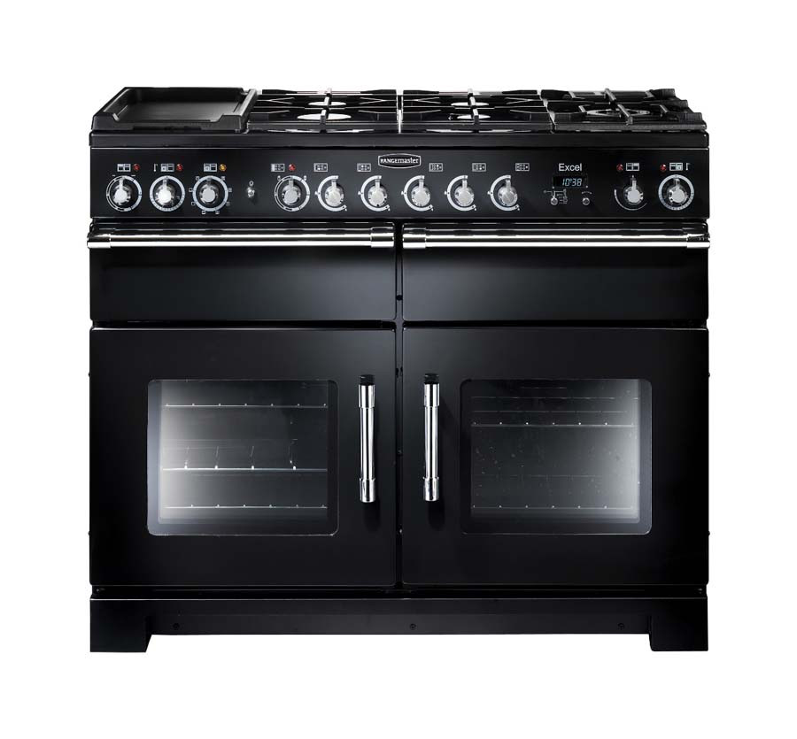 Rangemaster Excel 110 Dual Fuel Black Range Cooker 80520