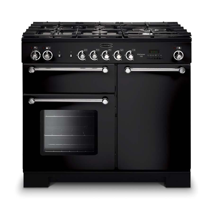 Rangemaster Kitchener 100 Dual Fuel Black Range Cooker 98790