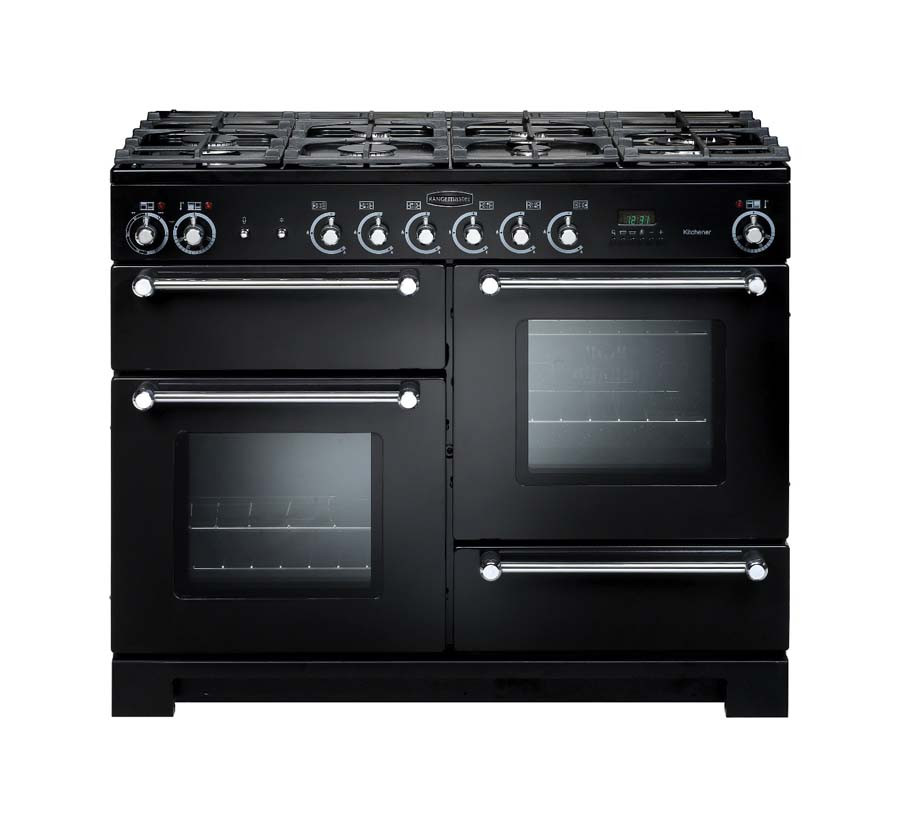 Rangemaster Kitchener 110 Dual Fuel Black Range Cooker 76280