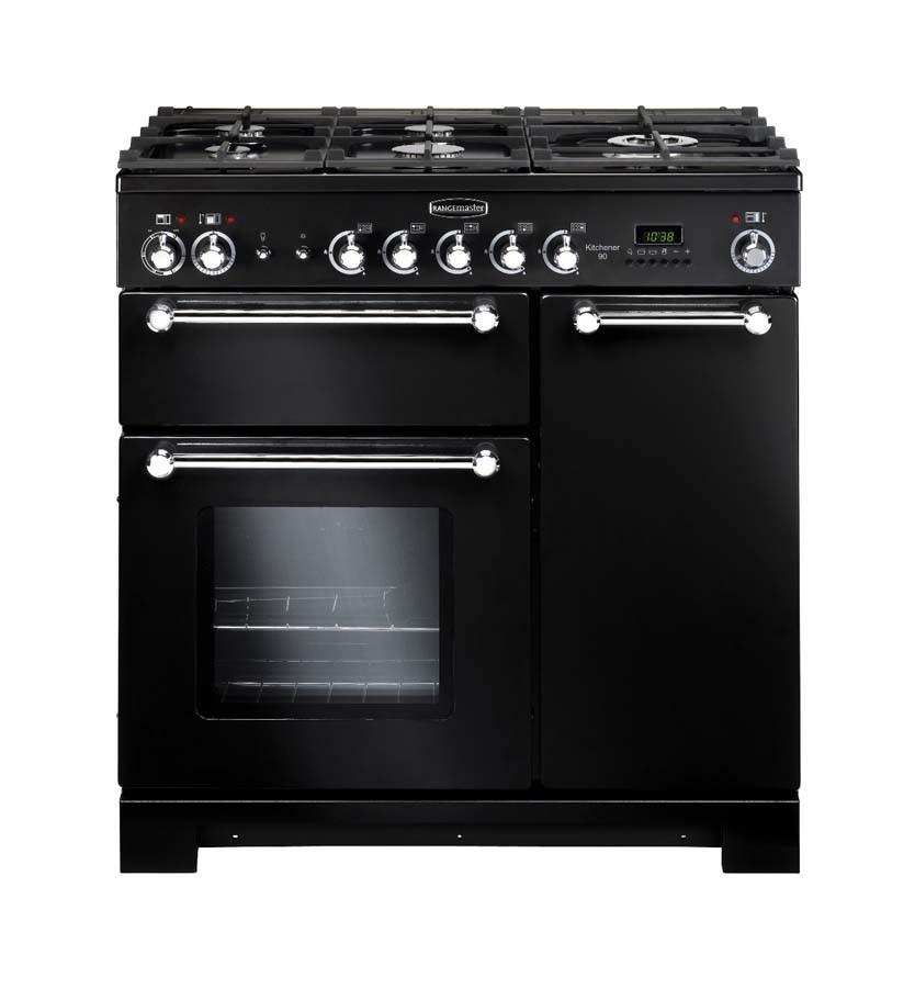 Rangemaster Kitchener 90 Dual Fuel Black Range Cooker 81420