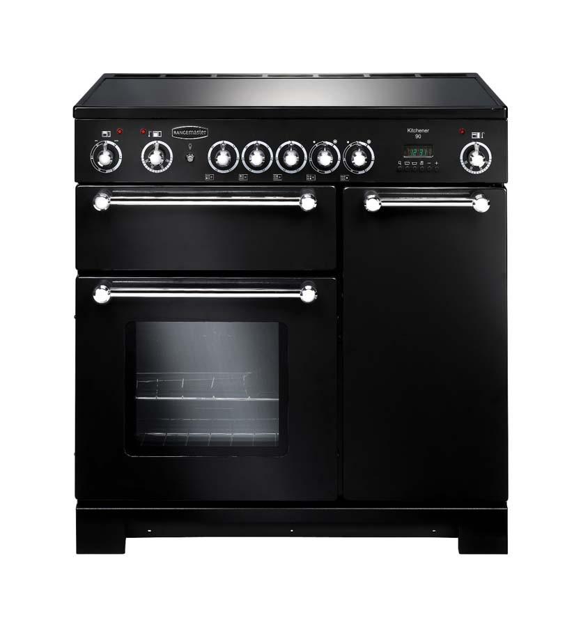 Rangemaster Kitchener 90 Ceramic Black Range Cooker KCH90ECBL/C 79270