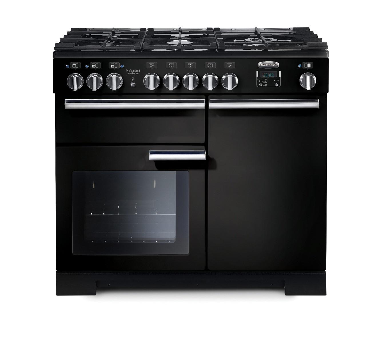 Rangemaster Professional Deluxe 100 Dual Fuel Black Range Cooker 97560