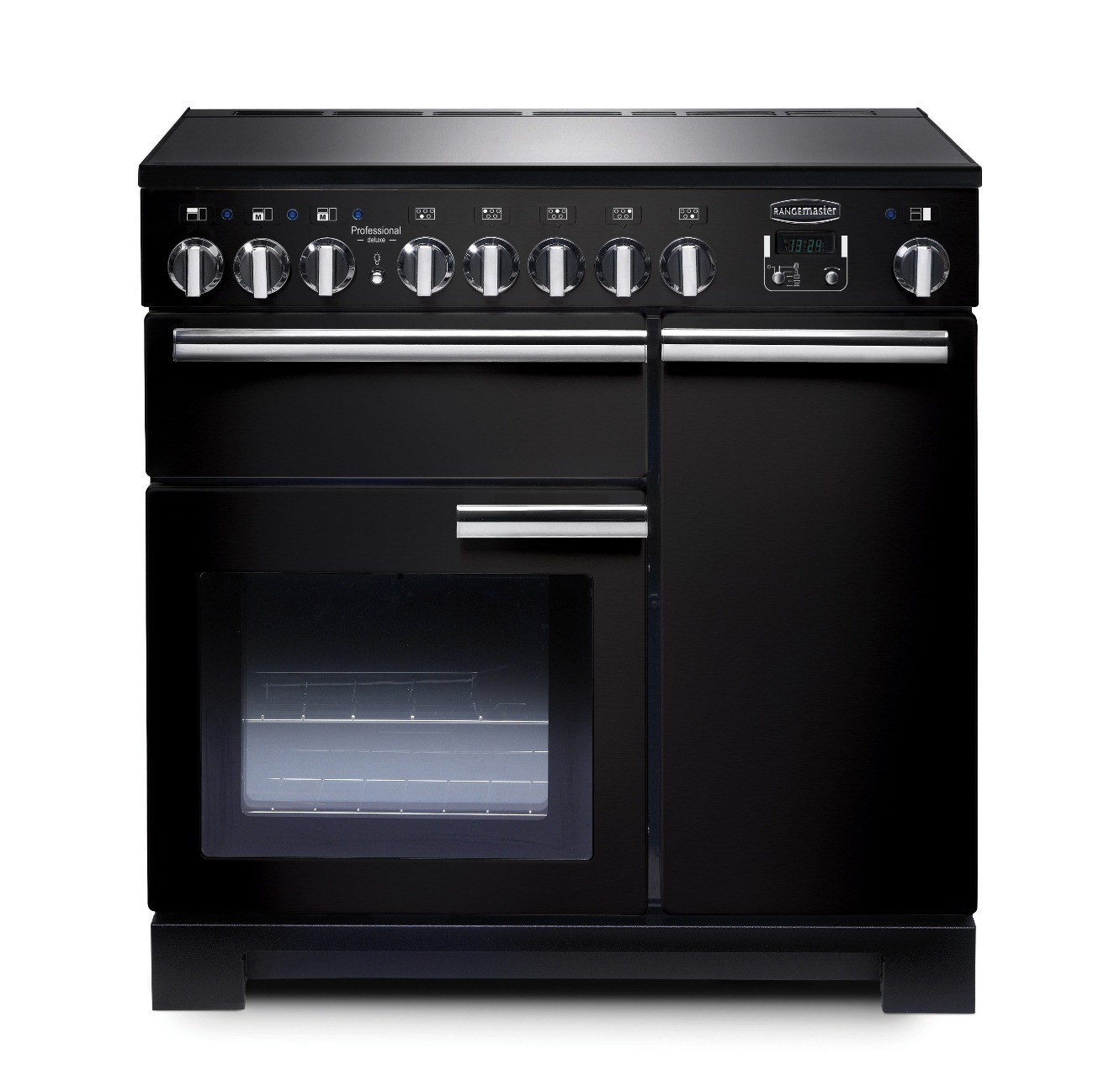 Rangemaster Professional Deluxe 90 Induction Black Range Cooker PDL90EIGB/C 97870