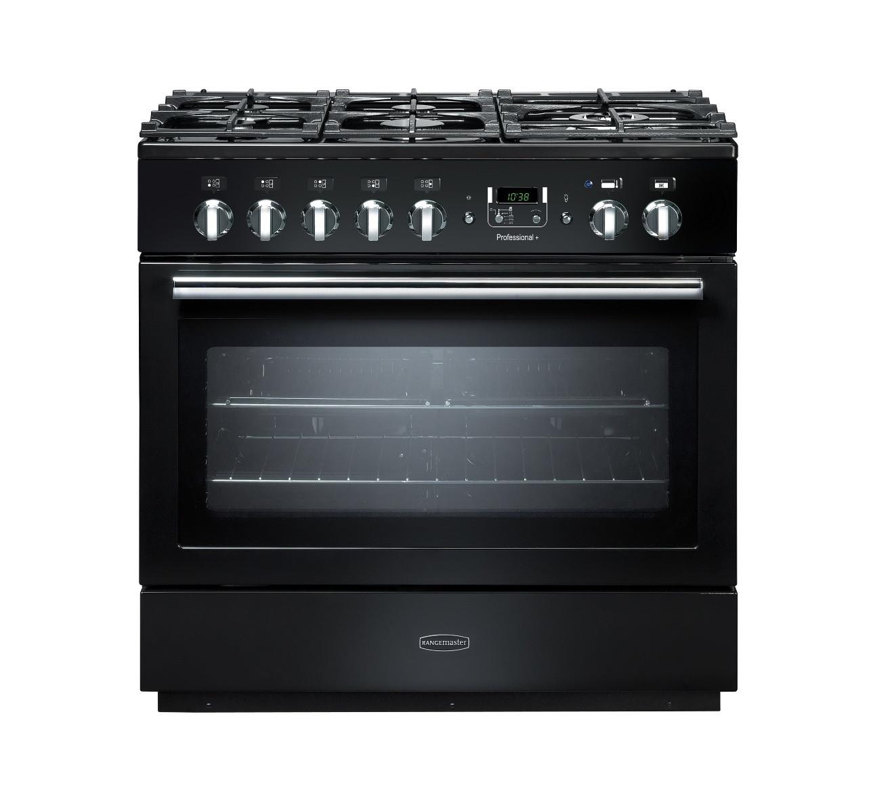 Rangemaster Professional Plus 90 FX Dual Fuel Black Range Cooker PROP90FXDFFGB/C 91130