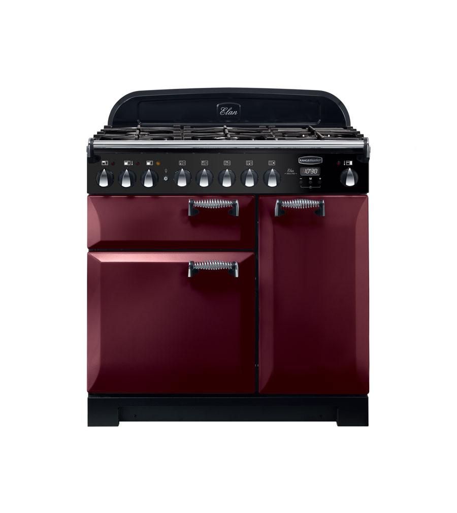 Rangemaster Elan Deluxe 90 Dual Fuel Cranberry Range Cooker ELA90DFFCY/ 118130