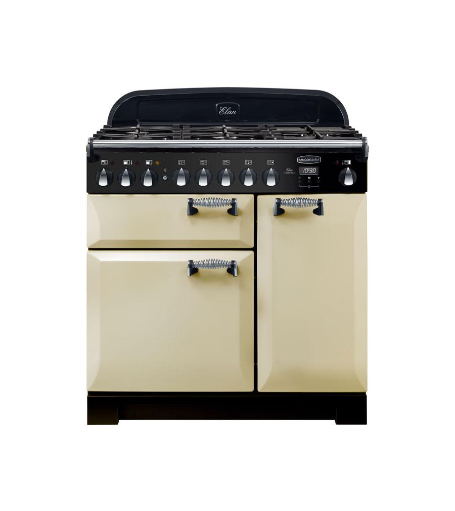 Rangemaster Elan Deluxe 90 Dual Fuel Cream Range Cooker ELA90DFFCR/ 118110