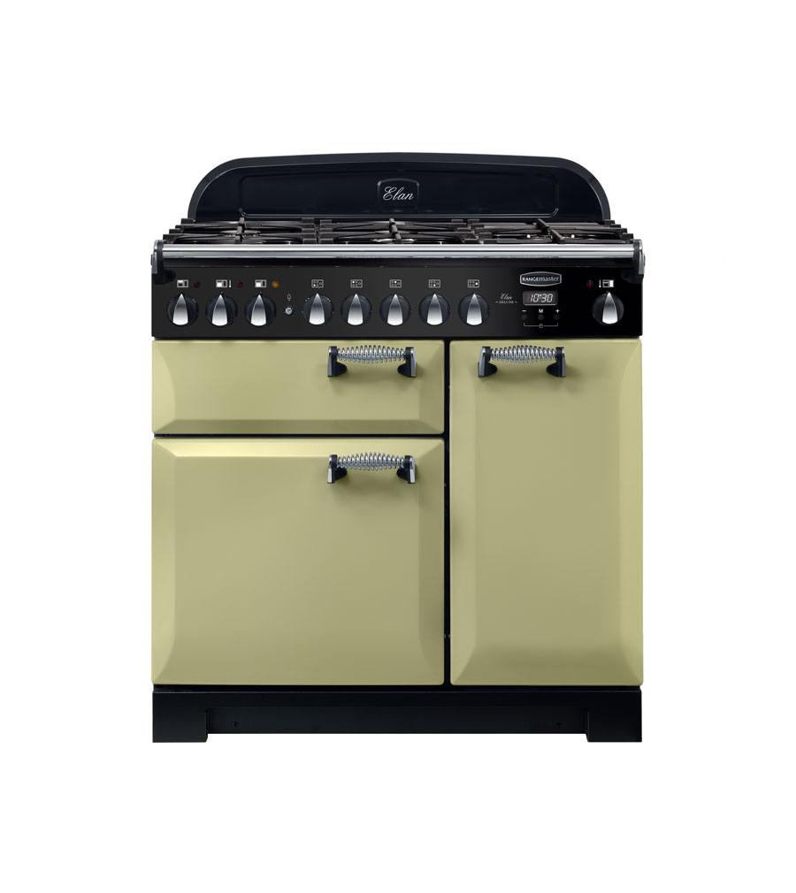 Rangemaster Elan Deluxe 90 Dual Fuel Olive Green Range Cooker ELA90DFFOG/ 118140