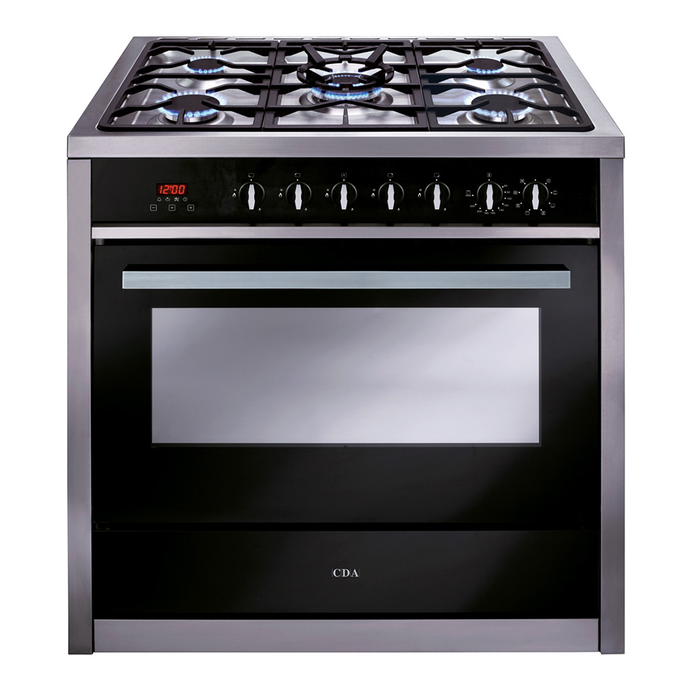 CDA Range Cooker 90 Electric Oven with Gas Hob Stainless Steel