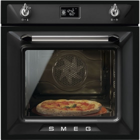 Smeg Victoria Built-In Pyrolytic 60 Black Multifunction Oven SFP6925NPZE1