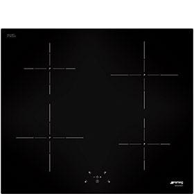 Smeg 60cm 4 Zone Straight Edge Glass Black Induction Hob SI5643D