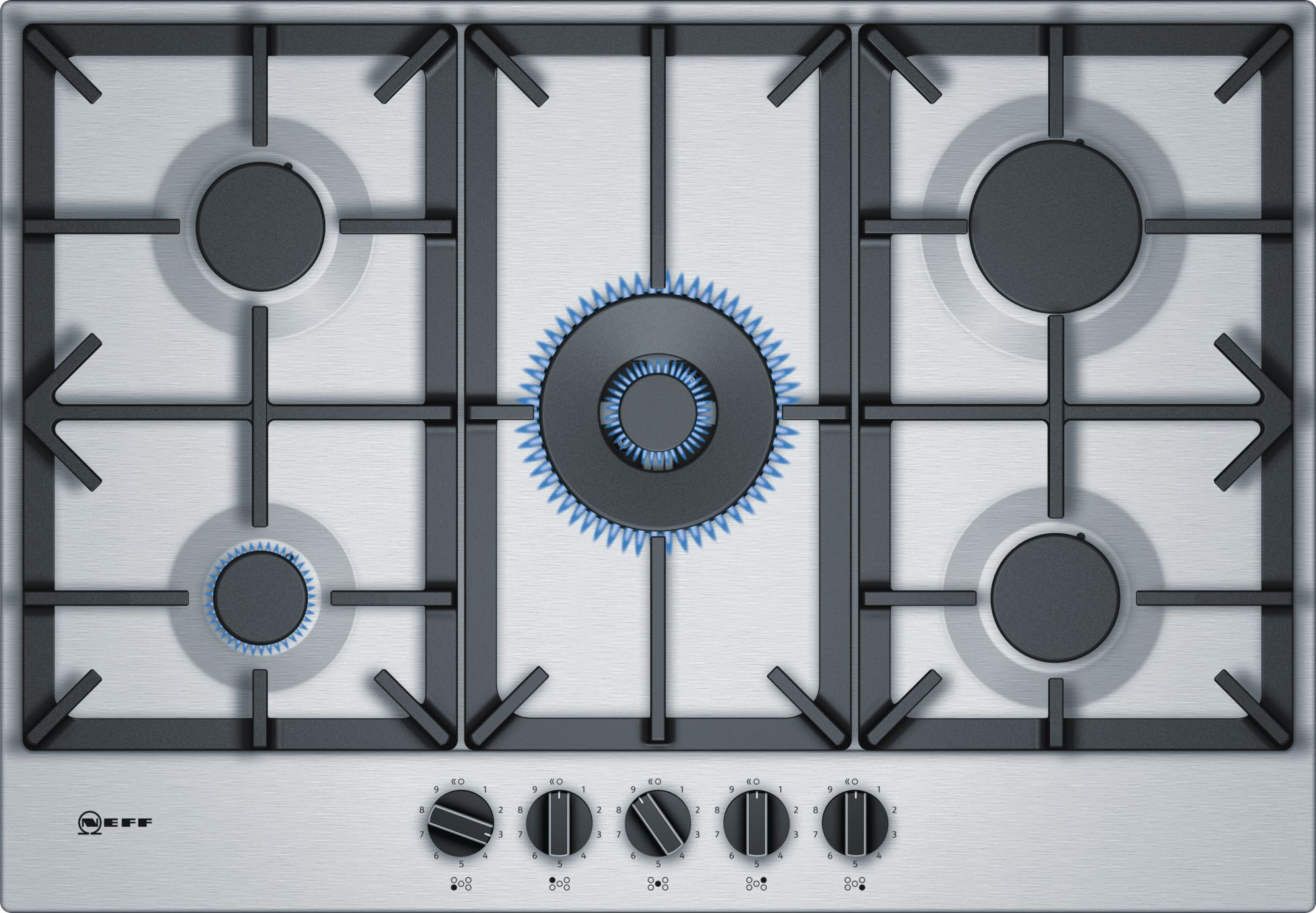 Neff N70 75cm Stainless Steel Gas Hob T27DS59N0