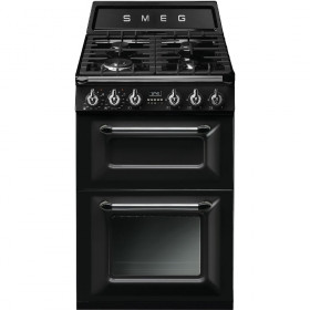 Smeg 60cm Two Cavity Traditional Victoria Black Dual Fuel Cooker TR62BL