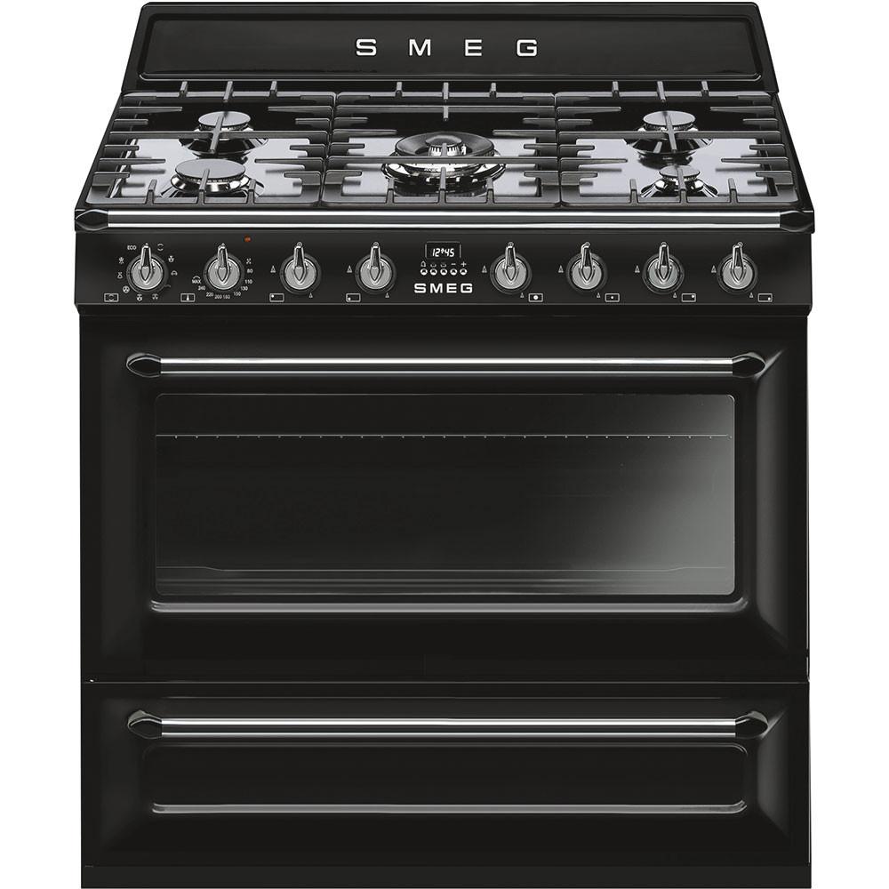 Smeg 90cm Victoria Single Cavity Black Dual Fuel Cooker TR90BL9