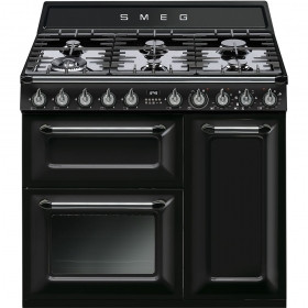 Smeg Victoria 90 Gloss Black Dual Fuel Range Cooker