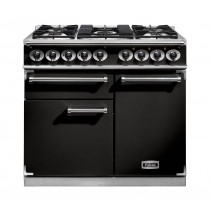 Falcon 1000 Deluxe Dual Fuel Black Range Cooker with Matt Pan Supports