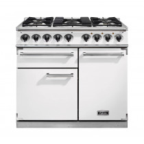 Falcon 1000 Deluxe Dual Fuel Ice White Range Cooker with Matt Pan Supports
