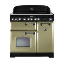 Rangemaster Classic Deluxe 90 Ceramic Olive Green/Chrome Range Cooker 100890