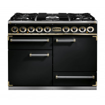 Falcon 1092 Deluxe Dual Fuel Black/Brass Range Cooker with Matt Pan Supports