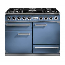 Falcon 1092 Deluxe Dual Fuel China Blue/Chrome Range Cooker with Matt Pan Supports