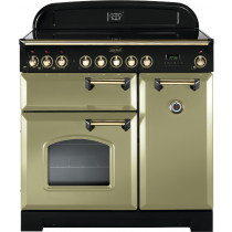 Rangemaster Classic Deluxe 90 Induction Olive Green/Brass Trim Range Cooker CDL90EIOG/B 114690