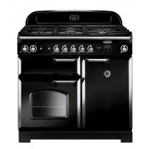 Rangemaster Classic 100 Dual Fuel Black/Chrome Trim Range Cooker CLA100DFFBL/C 116880