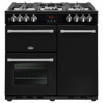 Belling Farmhouse 90cm Dual Fuel Black Range Cooker