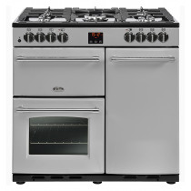 Belling Farmhouse 90cm Dual Fuel Silver Range Cooker