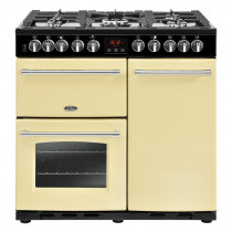 Belling Farmhouse Deluxe 90cm Dual Fuel Cream Range Cooker