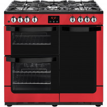 New World 444444205 Vision 90DF Red Dual Fuel Range Cooker