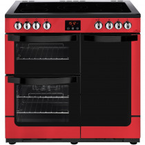 New World 444444208 Vision 90E Red Electric Range Cooker
